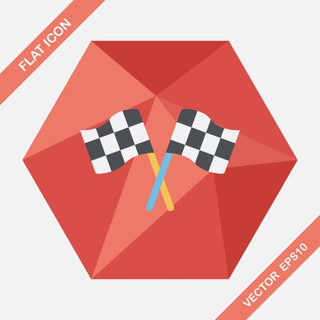 checker flag: racing flags flat icon with long shadow