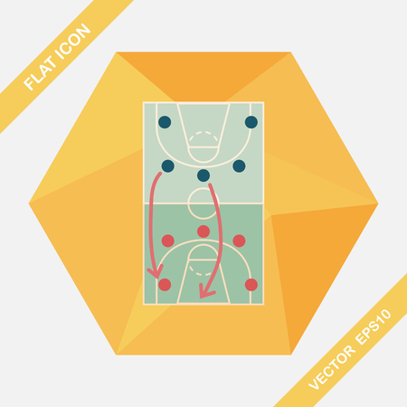 offense: basketball strategy board flat icon with long shadow