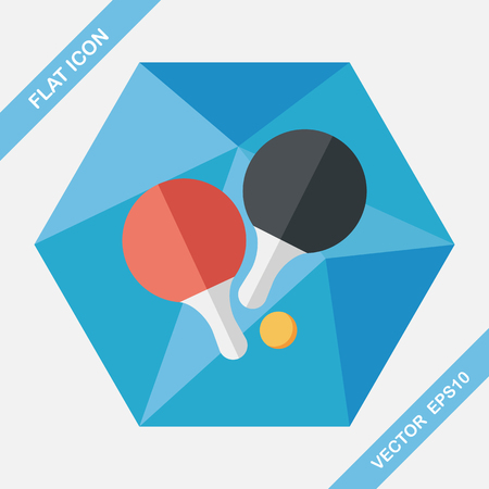 table tennis: table tennis racket flat icon with long shadow