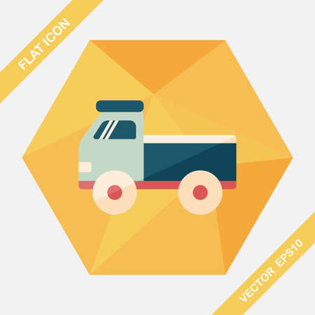 glyphs: Truck flat icon with long shadow Illustration