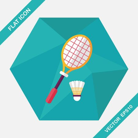 badminton racket: badminton racket and ball flat icon with long shadow