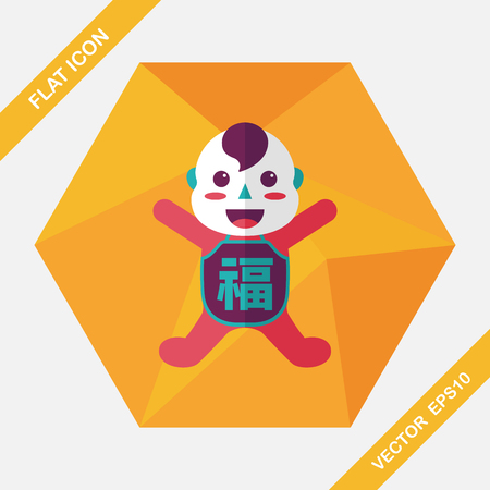 monasticism: Chinese New Year flat icon with long shadow, Maitreya doll decoration means Bless you have wealth, monasticism and popularity.
