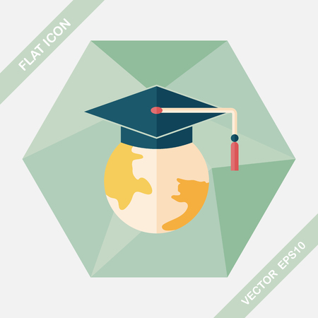 apprenticeship: e-learning flat icon with long shadow