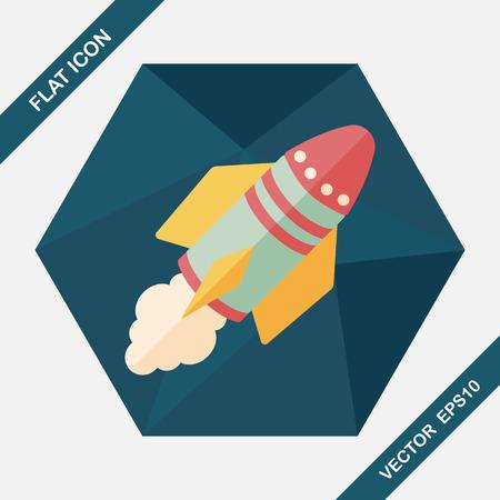 raumschiff: Spaceship Flach Symbol mit langen Schatten