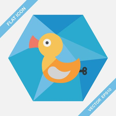 duck toy: Duck toy flat icon with long shadow Illustration