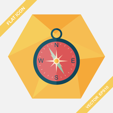 longitude: compass flat icon with long shadow