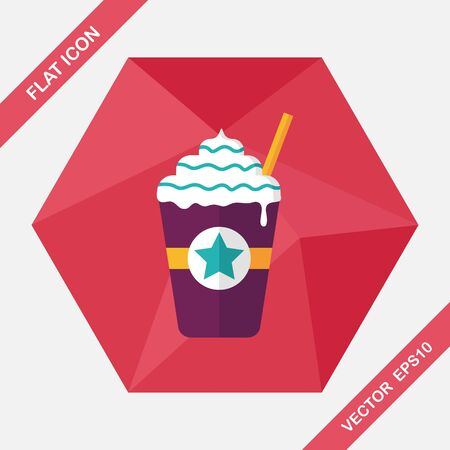 blended: iced blended coffee flat icon with long shadow Illustration