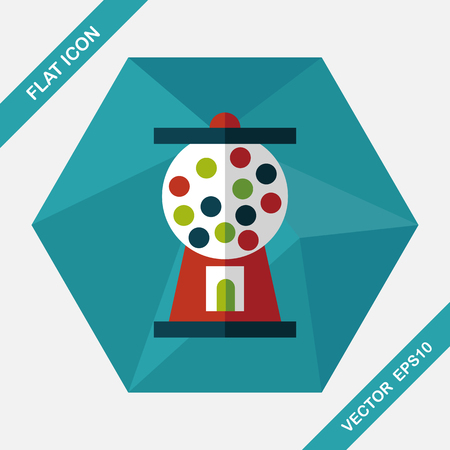 chewing: Gum ball Machine flat icon with long shadow