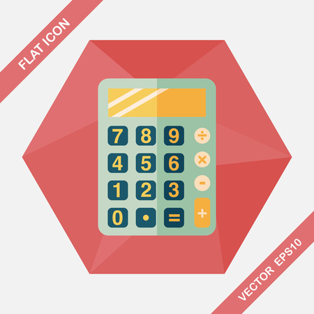 calculator money: calculator flat icon with long shadow