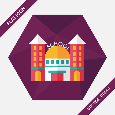 schoolhouse: School building flat icon with long shadow Illustration