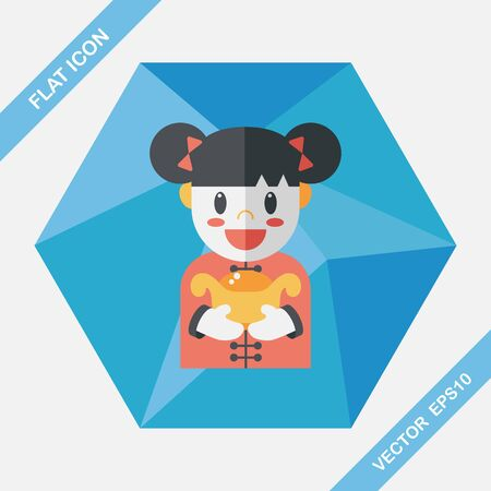 asian family: Chinese New Year girl flat icon with long shadow