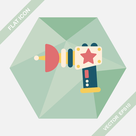 Space gun flat icon with long shadow