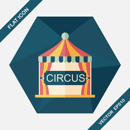 fete: circus flat icon with long shadow