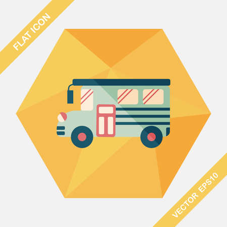 student travel: School Bus flat icon with long shadow