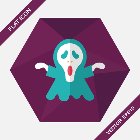 grim: Grim Reaper flat icon with long shadow