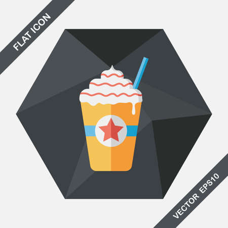 blended: Iced blended coffee flat icon with long shadow