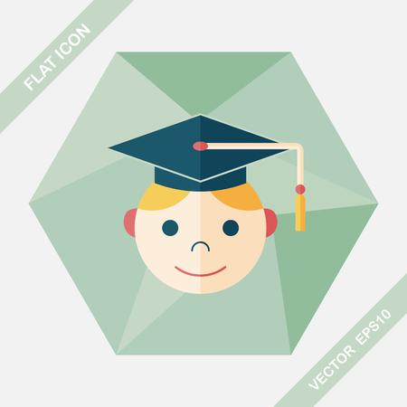valedictorian: Graduation Man flat icon with long shadow