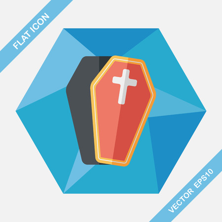 commentary: coffin flat icon with long shadow