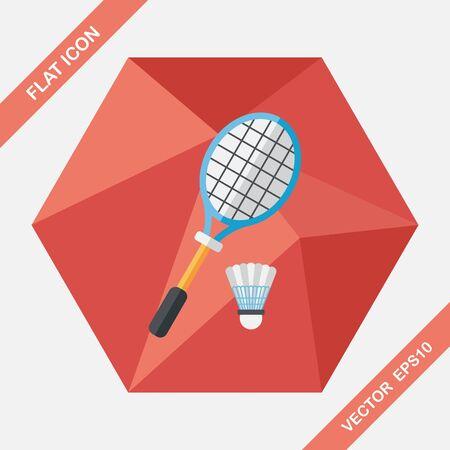 badminton: badminton racket and ball flat icon with long shadow