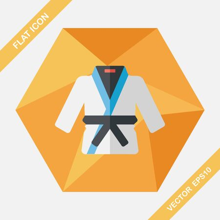 martial artist: Karate suit flat icon with long shadow