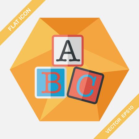 toy blocks: ABC blocks flat icon with long shadow