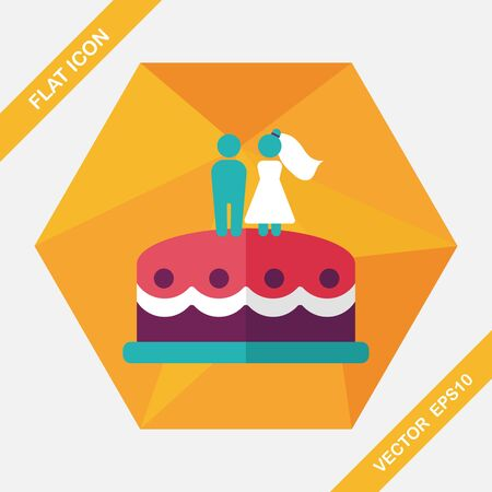 cake decorating: icono plana pastel de bodas con la sombra larga