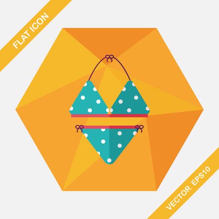 bikini top: Swimming suit flat icon with long shadow Illustration