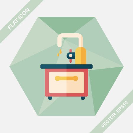 basin: kitchenware sink basin flat icon with logn shadow,eps10 Illustration