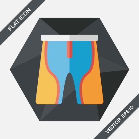 cycling shorts: cycling shorts flat icon with long shadow,eps10