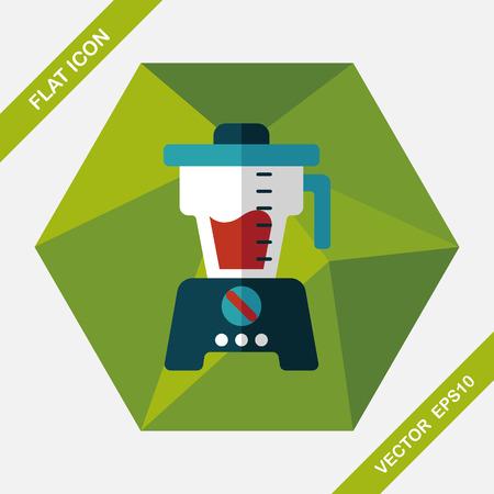 liquidizer: kitchenware juicer flat icon with long shadow,eps10 Illustration