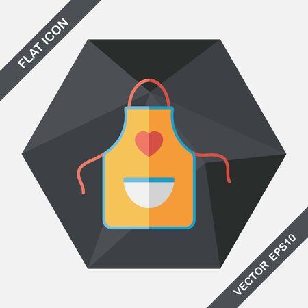 kitchenware: kitchenware apron flat icon with long shadow,eps10