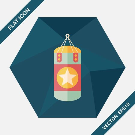 combative: punching bags flat icon with long shadow,eps10 Illustration