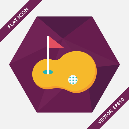 grass area: golf flat icon with long shadow,eps10 Illustration