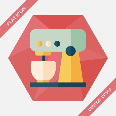 batidora: utensilios de cocina icono plana batidor electrónico con larga sombra, eps10