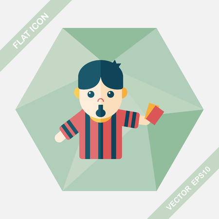 penalty card: soccer referee flat icon with long shadow,eps10