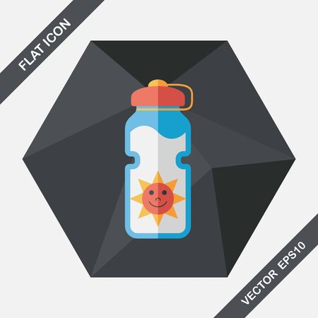 thirst: sports water bottle flat icon with long shadow,eps10 Illustration