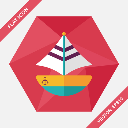 water transportation: Transportation sailboat flat icon with long shadow,eps10