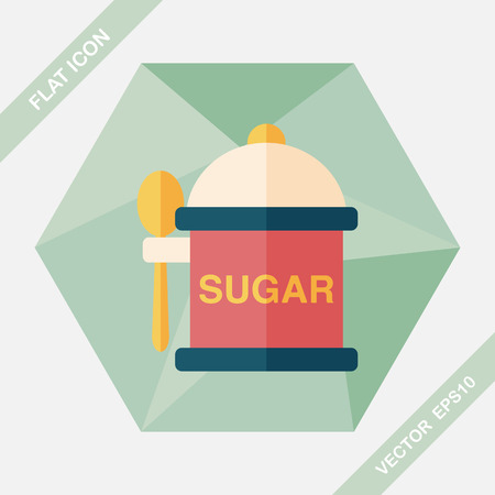 sugarcane: kitchenware sugar flat icon with long shadow,eps10
