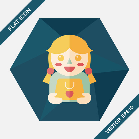 give a gift: shopping girl and present flat icon with long shadow,eps10