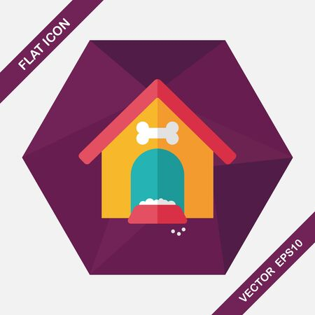 doghouse: Pet dog house flat icon with long shadow,eps10