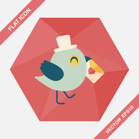 lover: Valentines Day lover bird flat icon with long shadow,eps10