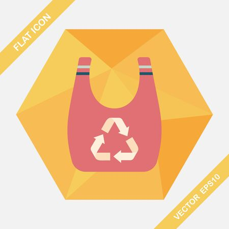 recycled: Environmental protection concept flat icon with long shadow,eps10; Recycled shopping bag