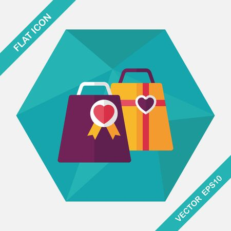 fashion shopping: Valentines Day shopping bag flat icon with long shadow,eps10