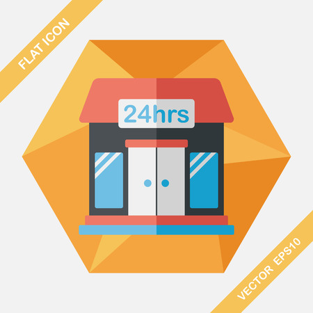 convenient store: Building convenient store flat icon with long shadow,eps10