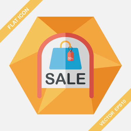 shopsign: shopping store sale sign flat icon with long shadow,eps10