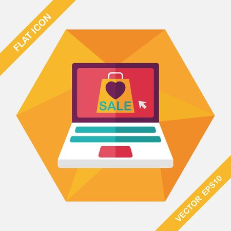 online payment: online shopping flat icon with long shadow,eps10