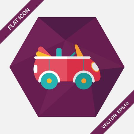 convertible car: Transportation open car flat icon with long shadow,eps10 Illustration