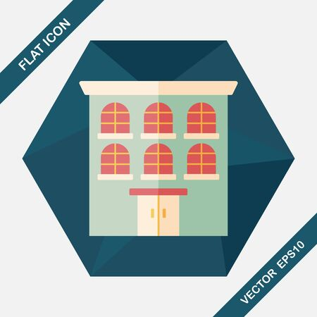built structure: Building flat icon with long shadow,eps10
