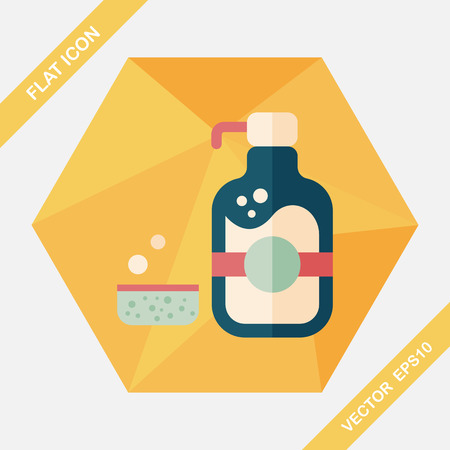 disinfect: kitchenware dish soap flat icon with long shadow,eps10 Illustration