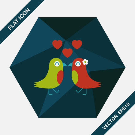 bird shadow: Valentines Day lover bird flat icon with long shadow,eps10